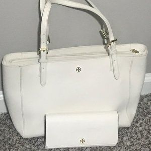 Tory Burch Leather Tote and Matching Wallet